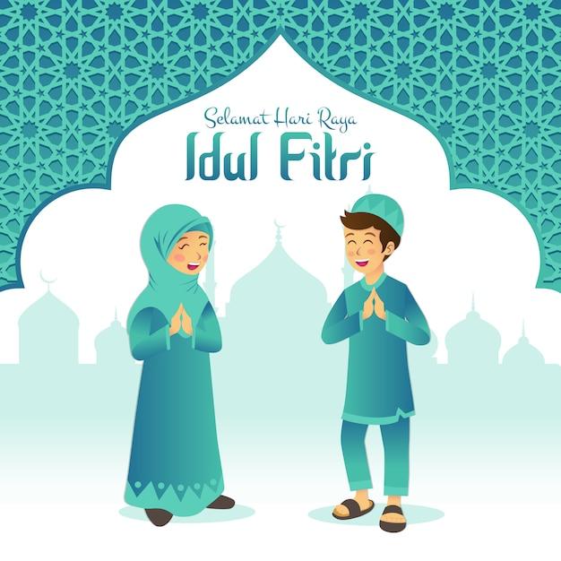 Selamat hari raya idul fitri è un'altra lingua di felice eid mubarak in indonesiano. bambini musulmani del fumetto che celebrano eid al fitr con la moschea e la struttura araba Vettore Premium
