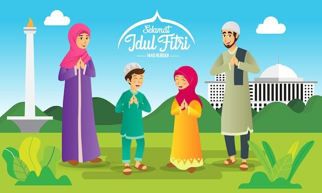 Selamat hari raya idul fitri è un'altra lingua di felice eid mubarak in indonesiano. famiglia musulmana del fumetto che celebra eid al fitr Vettore Premium