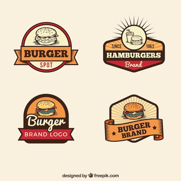 Selezione annata di loghi hamburger Vettore gratuito