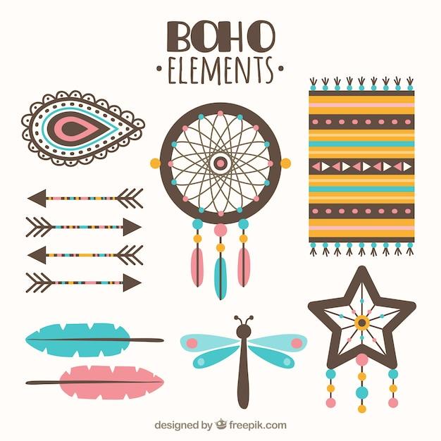 Selezione degli elementi boho piatte con dettagli rosa e blu Vettore gratuito