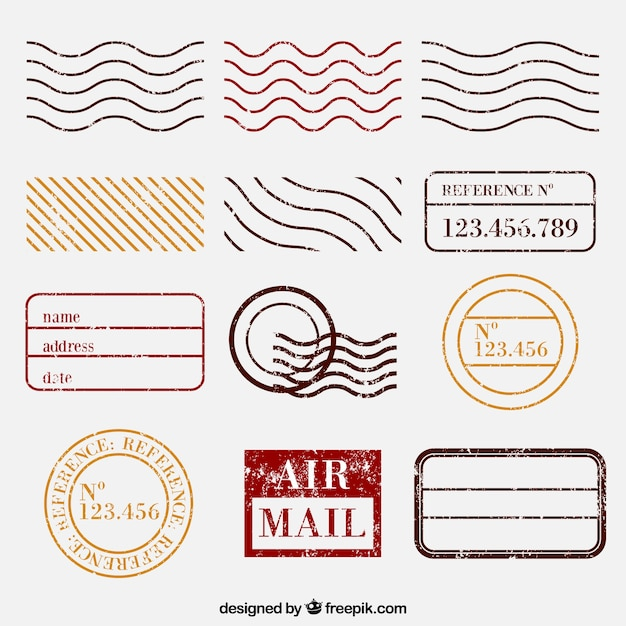 Selezione dei francobolli postali Vettore gratuito