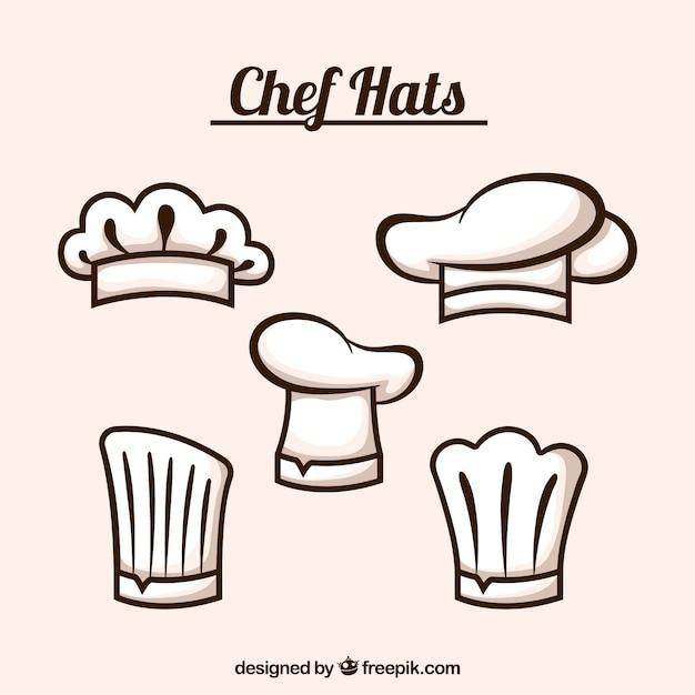Selezione di cinque cappelli piatti di chef Vettore gratuito