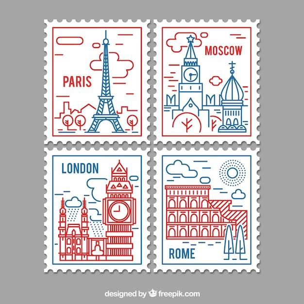 Selezione di francobolli di città in stile lineare Vettore gratuito