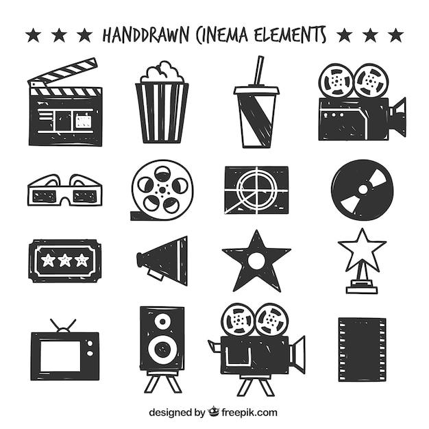 Selezione di oggetti cinema disegnati a mano Vettore gratuito