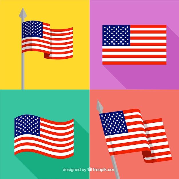 Selezione di quattro bandiere americane piatte Vettore gratuito