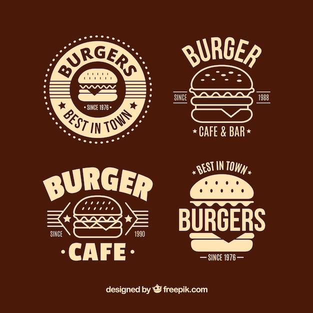 Selezione piatta di quattro loghi decorativi di hamburger Vettore gratuito