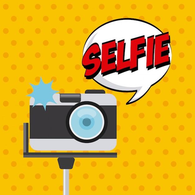 Selfie design Vettore Premium