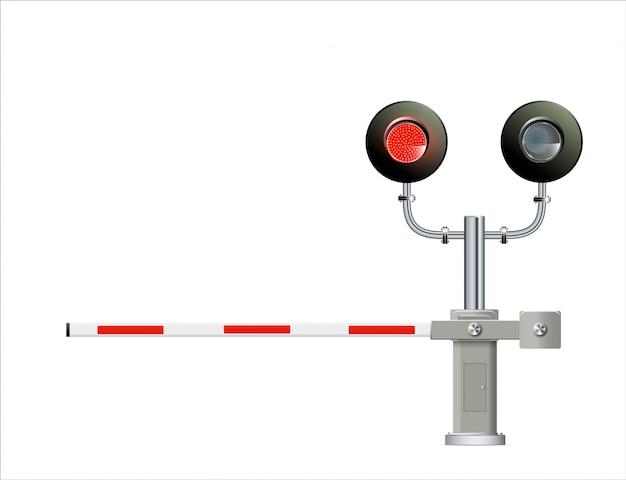 Semaforo ferroviario, barriera. semplice illustrazione moderna. Vettore Premium