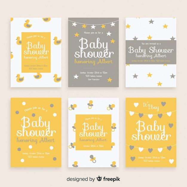 Semplice collezione di carte per la baby shower Vettore gratuito