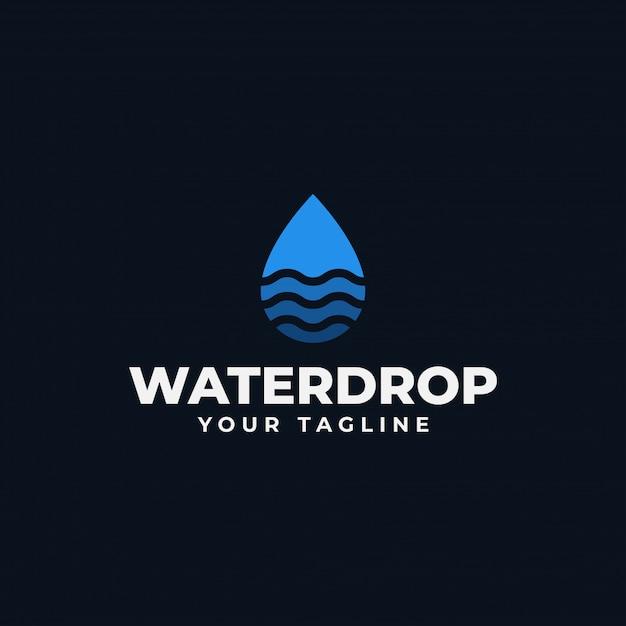 Semplice goccia d'acqua astratta con modello logo wave Vettore Premium