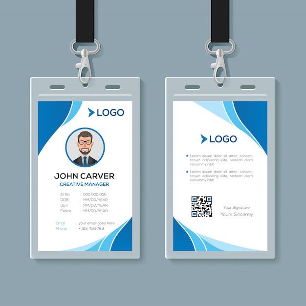 Semplice modello di carta d'identità ufficio blu Vettore Premium