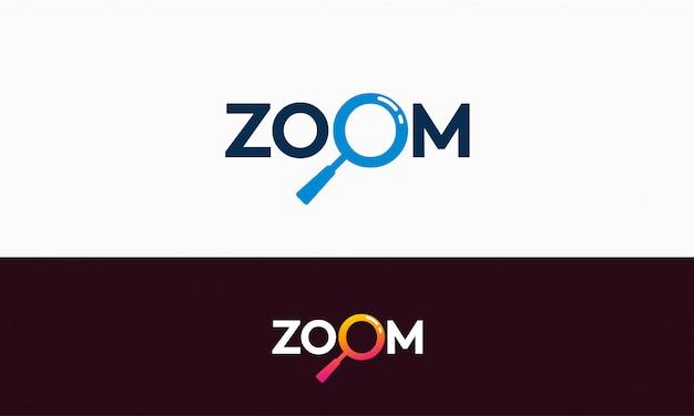 Semplice modello di logo zoom Vettore Premium