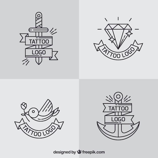 Semplice raccolta di tatuaggi logo scaricare vettori gratis for Semplice creatore di piano gratuito