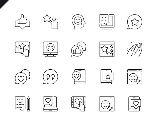 Semplice serie di feedback relative icone linea vettoriale. Vettore Premium