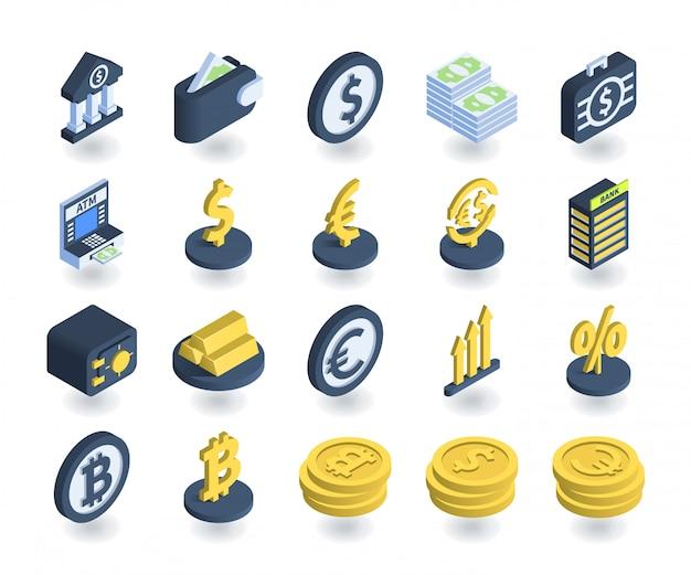 Semplice set di icone bancarie in stile 3d isometrico piatto. contiene icone come portafogli, bancomat, cassaforte, cartelli di valuta e altro ancora. Vettore Premium