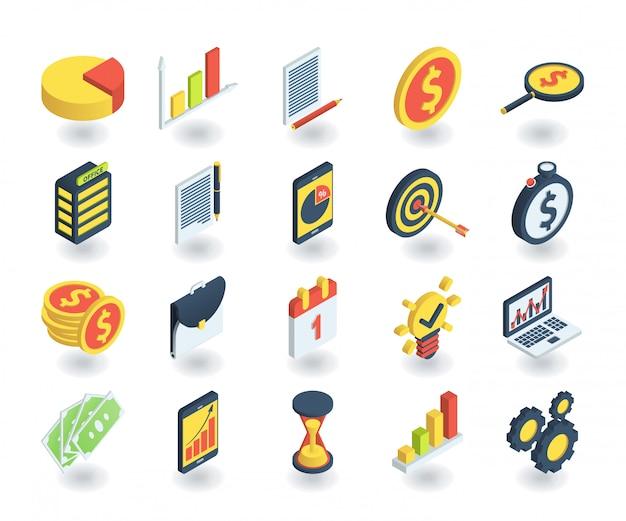 Semplice set di icone di affari in stile 3d isometrico piatto. contiene icone come il grafico a torta, la ricerca di investimenti, il tempo è denaro, lavoro di squadra e altro ancora. Vettore Premium