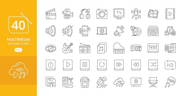 Semplice set di icone di linea di vettore relative multimediali Vettore Premium