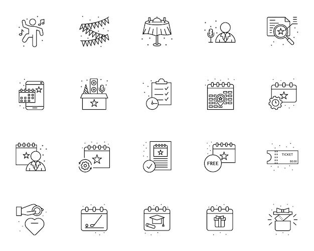 Semplice set di icone relative alla gestione degli eventi in stile linea Vettore Premium