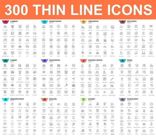 Semplice set di icone vettoriali linea sottile Vettore Premium