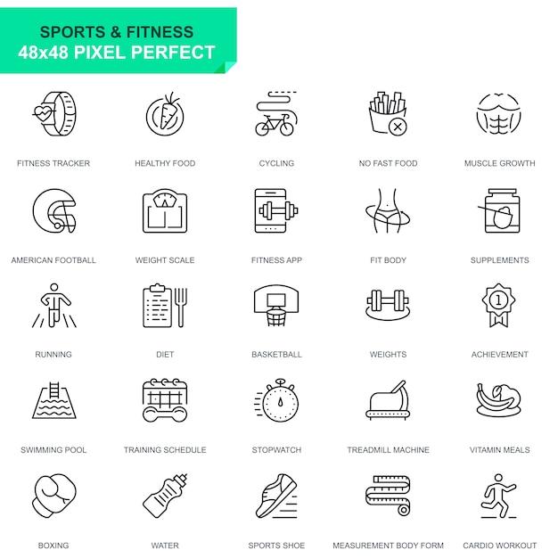 Semplice set sport e fitness line icons Vettore Premium