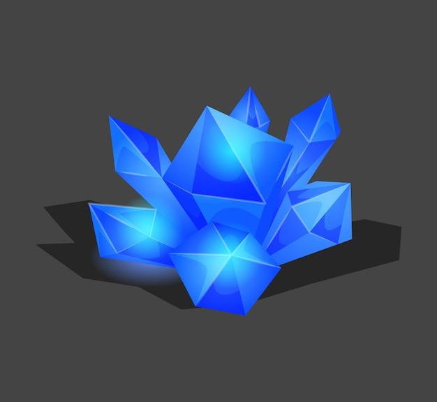 Semplice simbolo di cristallo con riflessione. icona del fumetto come decorazione per i giochi. isolato Vettore Premium