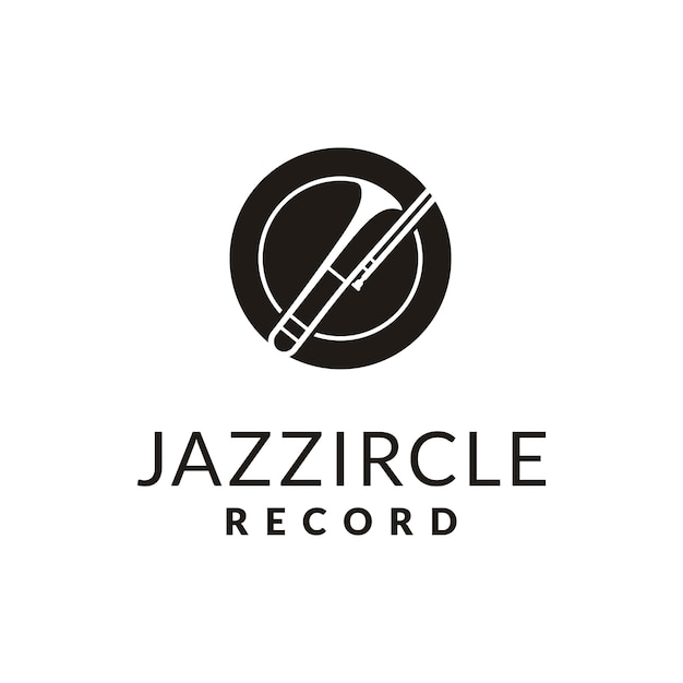 Semplice strumento in ottone per jazz music logo design Vettore Premium