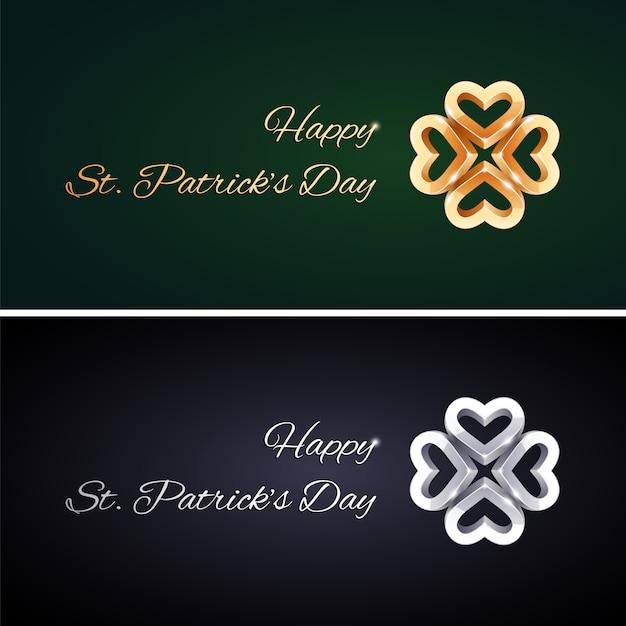 Semplici biglietti per il giorno di san patrizio con trifogli dorati e argentati Vettore Premium