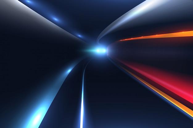 Sentieri di luce in auto da città. sfondo vettoriale ad alta velocità Vettore Premium