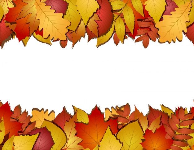 Senza soluzione di continuità con foglie di autunno rosse e gialle. illustrazione Vettore Premium