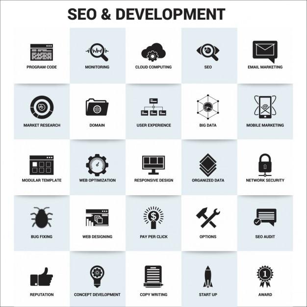 Seo e l'icona di sviluppo fissati Vettore gratuito