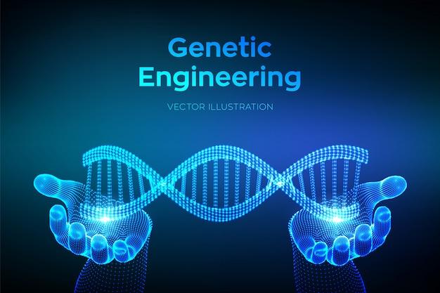 Sequenza di dna nelle mani. maglia metallica della struttura delle molecole di wireframe dna. modello modificabile del codice dna. concetto di scienza e tecnologia. Vettore Premium