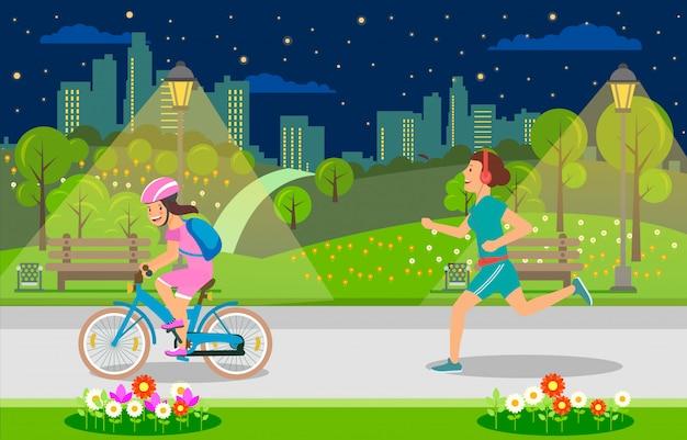 Serata per il tempo libero per genitori e bambini nella grande città. Vettore Premium