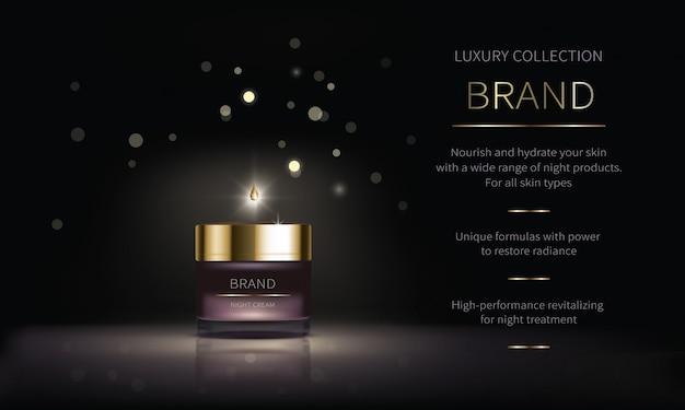 Serie cosmetiche notturne per la cura della pelle del viso Vettore gratuito
