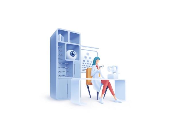 Serie di assistenza sanitaria: illustrazione oftalmologo Vettore Premium