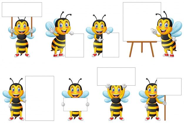 Serie di caratteri e lavagna svegli dell'ape del fumetto per scrivere. Vettore Premium