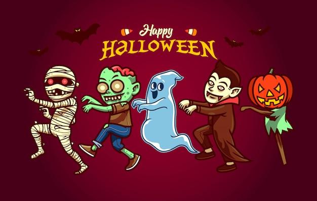 Serie di caratteri felice di halloween nello stile del fumetto Vettore Premium