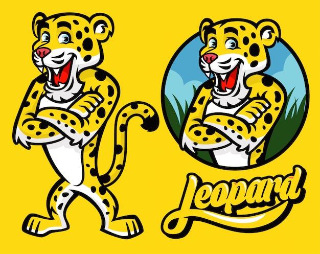 Serie di cartoni animati di carattere leopardo Vettore Premium