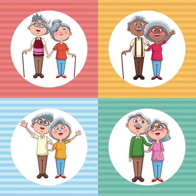 Serie di cartoni animati di coppie di nonni Vettore Premium