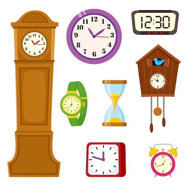 Serie di cartoni animati orologio, orologio e clessidra Vettore Premium