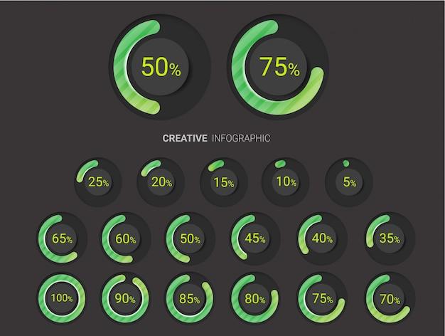 Serie di diagrammi percentuali Vettore Premium