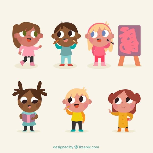 Serie Di Disegni Di Bambini Con Grandi Occhi Scaricare Vettori Gratis