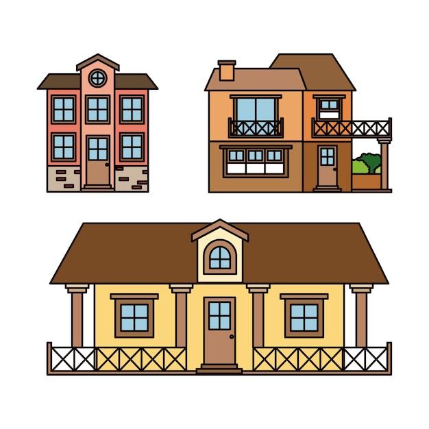 Top serie di facciate di case di campagna vettore premium for Immagini facciate case