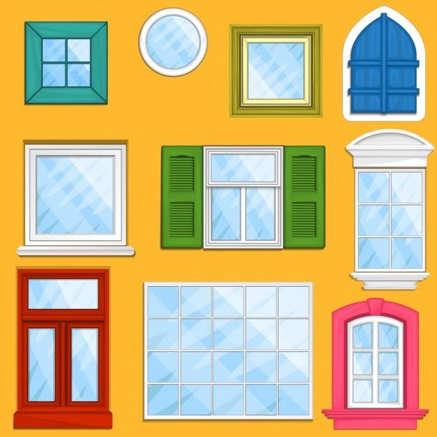 Serie di finestre di vettore Vettore gratuito