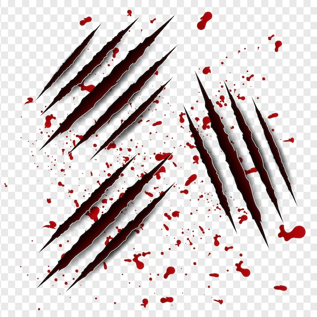 Serie di graffi di artigli con sangue rosso Vettore Premium