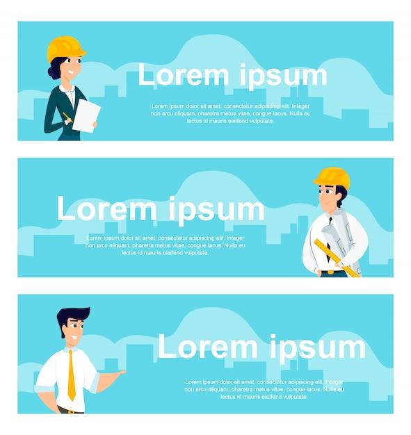 Serie di illustrazioni di architetti al lavoro Vettore gratuito