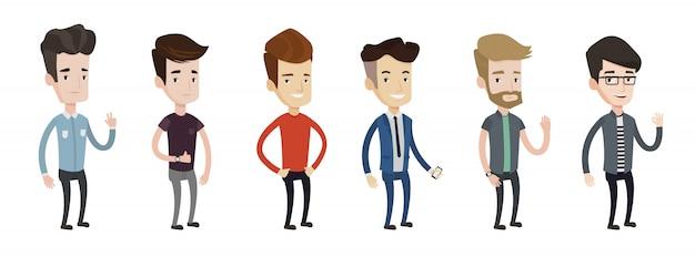 Serie di illustrazioni di giovane uomo. Vettore Premium