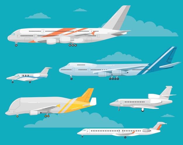 Serie di illustrazioni di stile piano di varietà di aeromobili Vettore Premium