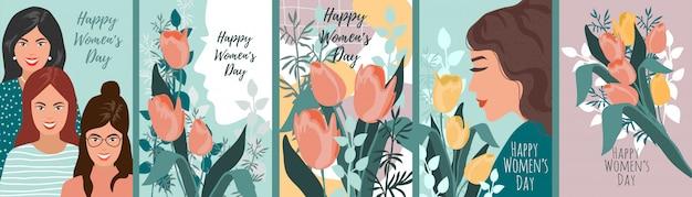Serie di illustrazioni per la festa della donna. Vettore Premium