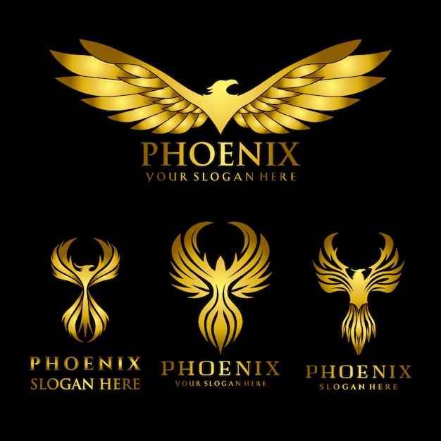 Serie di modello di progettazione di logo di phoenix aquila d'oro Vettore Premium