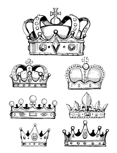 Serie di schizzi di corone Vettore Premium